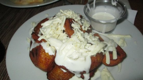 Arepas Cafe: sweet plantains smothered in cheese