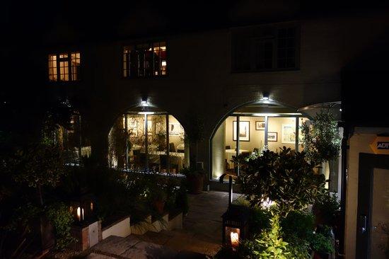 Mr Underhill's at Dinham Weir: restaurant frontage (at night)