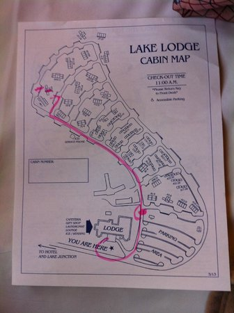 Map of Lake Lodge cabins -The pink line showed the route to our cabin in section H. It was qui