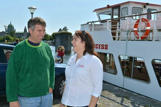 Corrib Princess River Cruise: Douglas Kennedy being welcomed on board by Róisín Sweeney