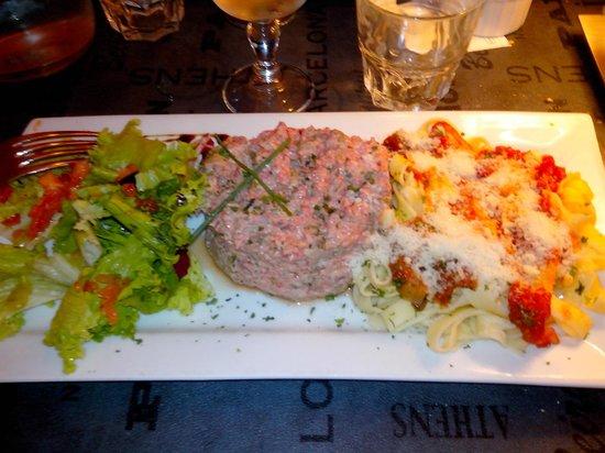Le Dolce Italia : Tartare à l'italienne accompagné de tagliatelles fraîches et compotée de tomate