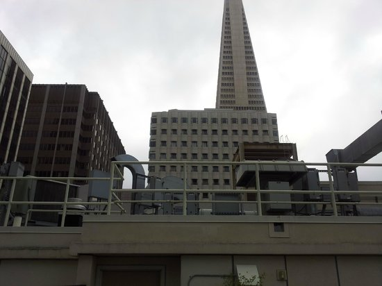 Club Quarters Hotel in San Francisco: Transamerica Pyramid from the balcony outside
