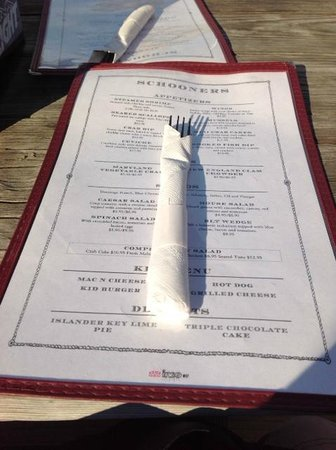 Schooners On The Creek: menu