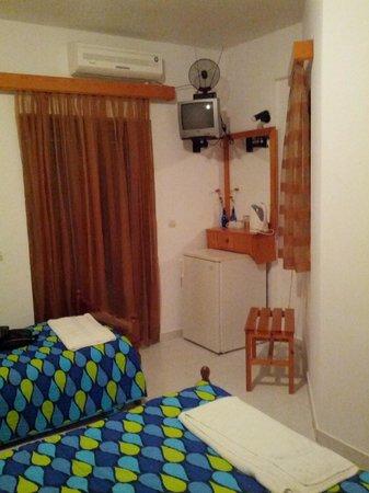 Nikiana Beach: the tv, fridge and the main balcony - room 18