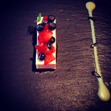 White chocolate mousse and raspberry terrine, The Brewer's House, Donaghmore