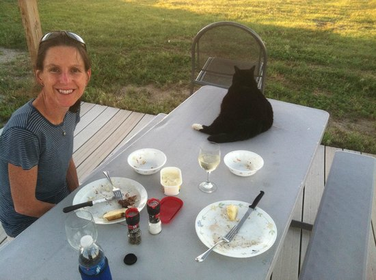 Circle View Guest Ranch: Dinner on the veranda with Cowboy