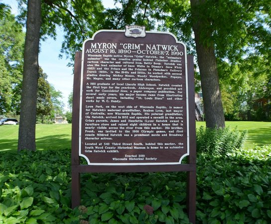 """South Wood County Historical Museum : Myron """"Grim"""" Natwick Historical Marker, in museum grounds"""