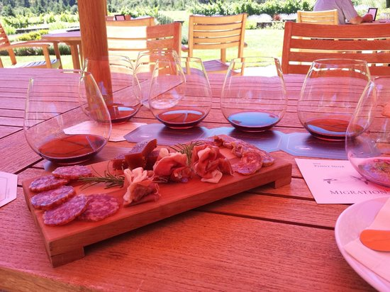 Goldeneye Winery : Charcuterie platter with pinot flight.