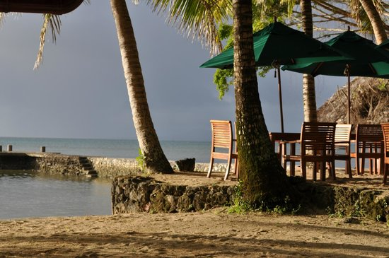 Toberua Island Resort: The corner of the outdoor dining area - looking out to mainland storm