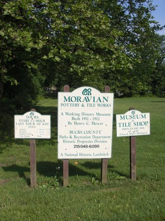 Moravian Pottery and Tile Works : Moravian Tile and Pottery Works Sign.