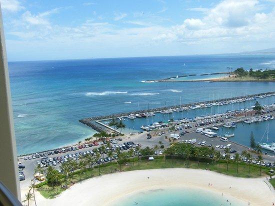 Hilton Hawaiian Village Waikiki Beach Resort View From One Of The Balconies In Rainbow Tower