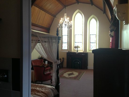Abbey of the Roses: view of bedroom from ensuite