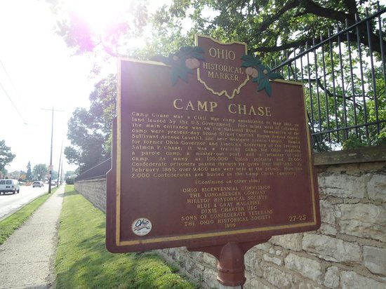 Camp Chase Confederate Cemetery: Sign in front by the gate
