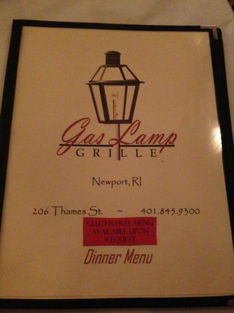 The Gas Lamp Grille: Cover of the Menu