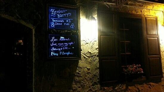 Kevin Barry's : outside sign