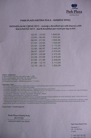 Park Plaza Histria Pula: ausgehängte Preisliste - dafür ist es viel zu teuer hier zu sein