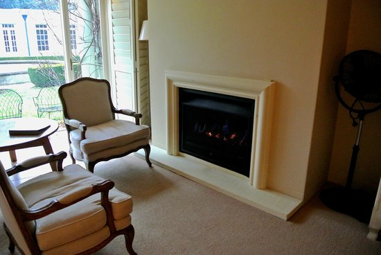 Milton Park Country House Hotel & Spa: the gas fireplace in garden view room
