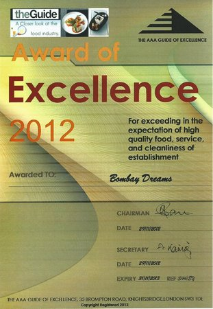 Bombay Dreams has been now awarded for 2012 for its Excellency