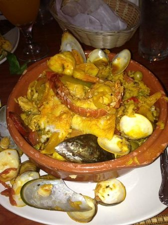 Cafe Madrid : Seafood Paella- Lobster, oysters, clams, shrimp, chicken, more