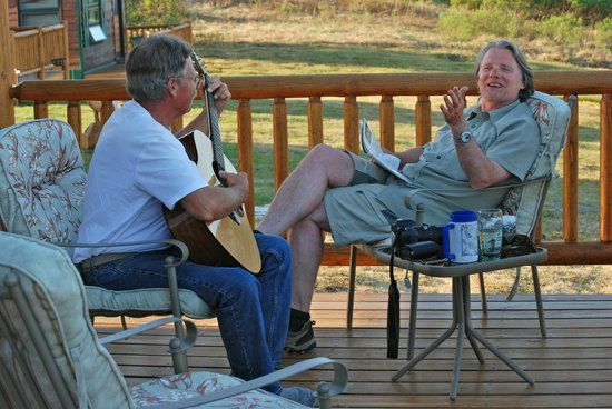 Caribou Lodge Alaska: After a fantastic BBQ, Mike plays guitar