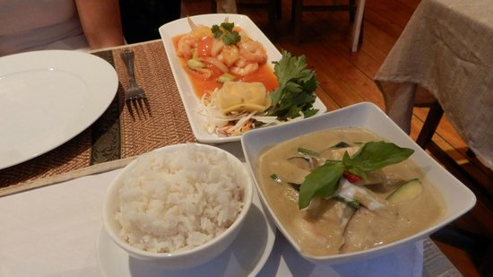 "Love's Thai Restaurant: Thai green curry and ""Pad Prew Wan"" (stir-fry prawns and veg with pineapple in sweet & sour sauc"
