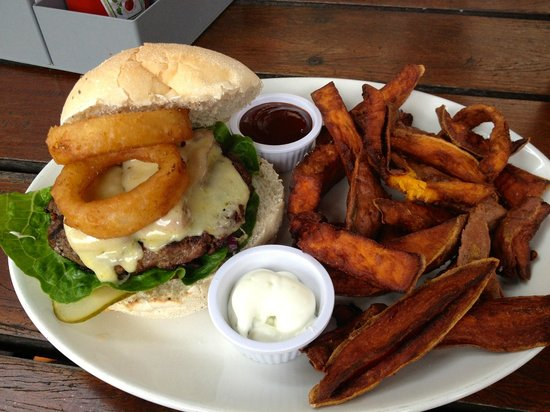 The Burger Joint: burger with onion ring, cheese and bacon + sweet potato chips!