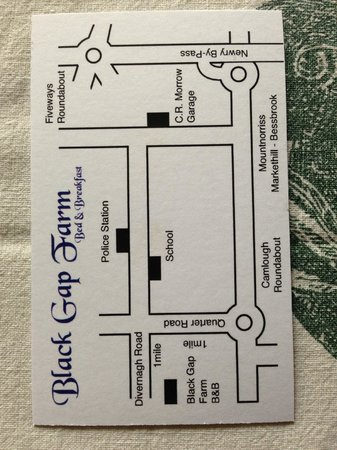 Black Gap Farm: business card with good map