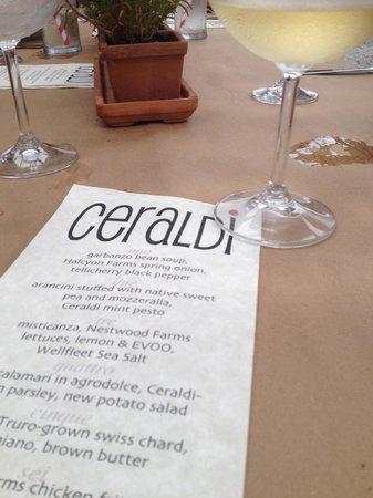 Ceraldi: our menu