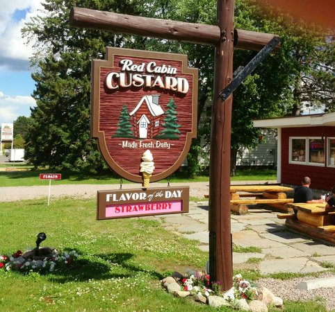 Red Cabin Custard: the Red Cabin sign states the flavor of the day!