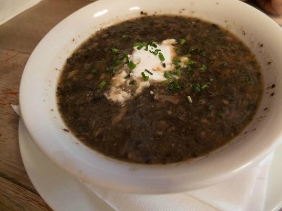 The Anchor and Hope : Mushroom and Madeira Broth, Goat's Curd and Chives