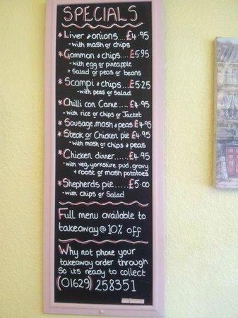 Matlock Cafe : Specials