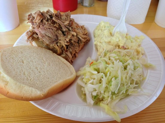 Barrelhouse BBQ: Pulled Pork Sandwich, Potato Salad and Vinegar Coleslaw
