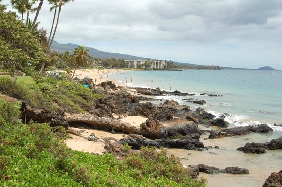 Punahoa Beach Apartments: Rocky secluded beach area at base of property with Kamaole I Beach Park (walking distance) in b.