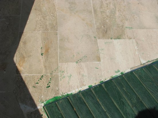 Meis Hotel: Paint job on poolside decking clearly done in a rush