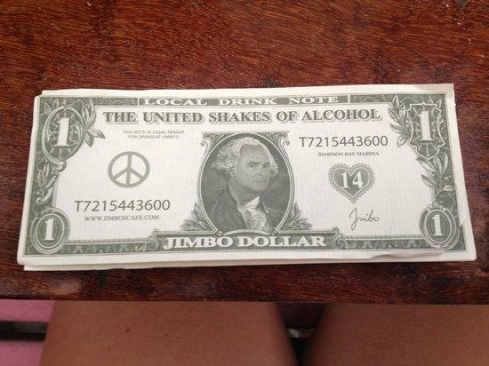 Jimbo's Rock & Blues Cafe: Jimbo $  - 5 Jimbo 4 = a free drink