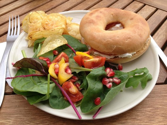 The Tea Garden at Comrie Croft: Smoked Salmon and Cream Cheese Bagel