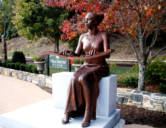 A statue of Tryon's own Nina Simone, internationally known musician, graces main street in Tryon