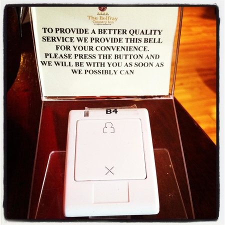 The Belfray Country Inn: The bell on my table at the restaurant