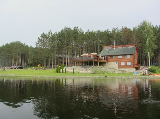 Hastings Resort: View of the lodge and restaurant from the river.