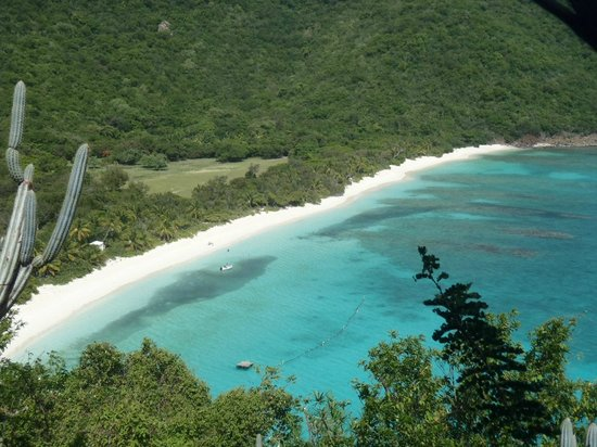 Guana Island: White Bay Beach viewed from the Pyramid trail