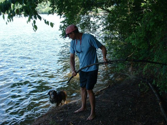 Turkey Creek Campground: Huey with my husband at the lake.