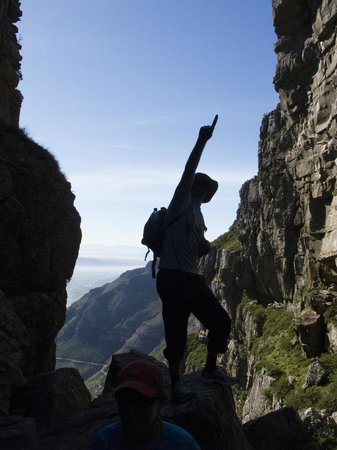 The Cape Town Tour Guide Co.: Clive cheering us onward to the top of Table Mountain