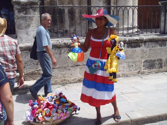 History Trip Havana Tour: Cuban dolls for sale in front of Cathederal