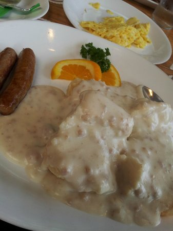 Pig 'N Pancake: Biscuits and Gravy Combo Plate (Eggs Placed on a Separate Plate)