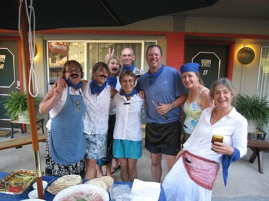 "Piazza's Pine Cone Inn: ""Team Amnesia"" after preparing a sumptuous Greek-themed meal by the BBQ.."