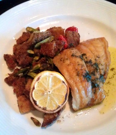 Wheatfields Bistro & Wine Bar: Pan seared Red Snapper w/ eggplant Caponata, basil oil.