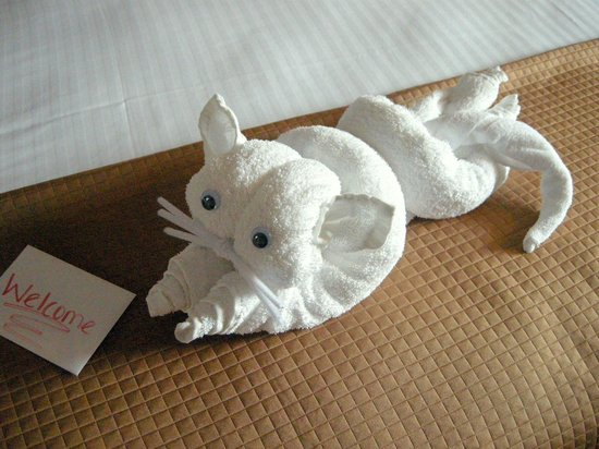 Bayside Resort Hotel: Towel cat and welcome card on bed!