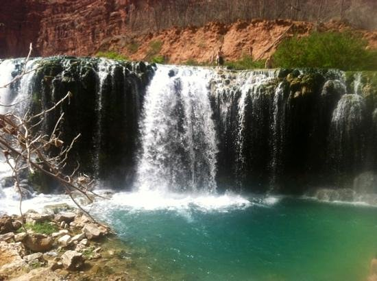 Navajo Falls: friends taking the plunge :)