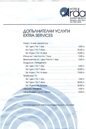 Arda Hotel : Extra Services and Fines