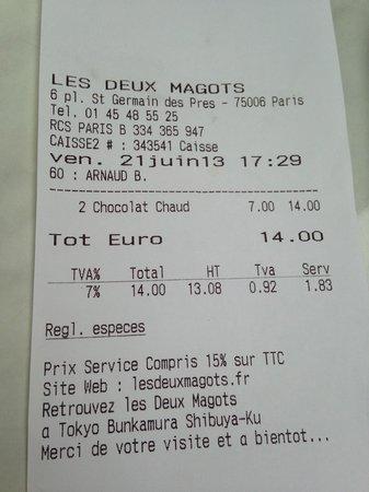 Cafe Les Deux Magots: receipt